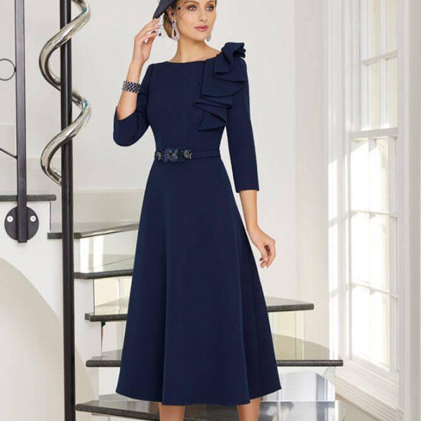 Dark blue dress with belt and blue hat