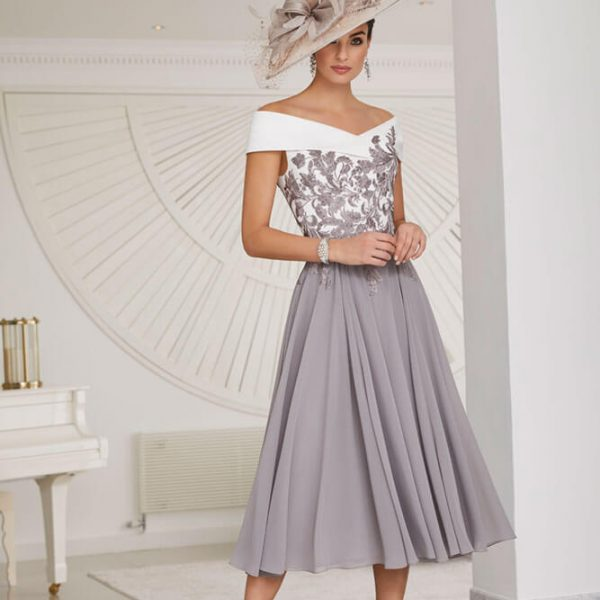 Grey pleated dress with matching hat